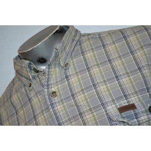10412 Mens Carhartt Work Shirt Blue Plaids Size